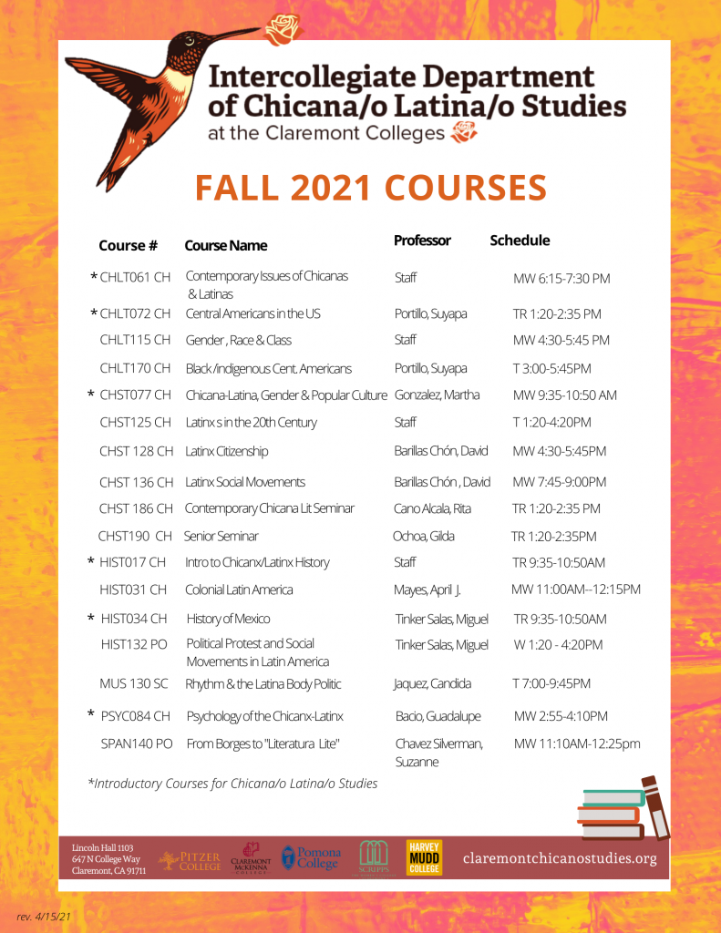 Flyer for Fall 2021 Courses